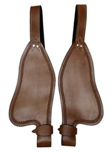 WESTERN LEATHER HORSE SADDLE FENDER PAIR PLAIN SMOOTH REPLACEMENT FENDERS SET