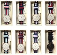 NEW Daniel Wellington Classic 40mm Nylon Strap Men's Watch Rose Gold & Silver