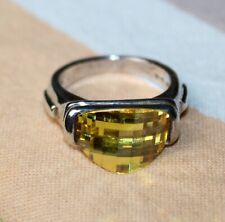 STERLING SILVER Ring BEAUTIFUL CHECKERBOARD LEMON QUARTZ STONE Size 5 LOT R