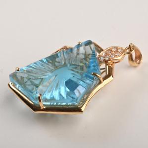 ESTATE HUGE 50ct Topaz, 12 Diamonds, 18k Yellow Gold Necklace Pendant, Fancy Cut