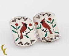 Navajo Native American .925 Sterling Silver Bird Earrings