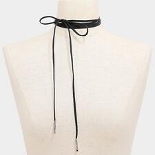 "Choker Necklace Long Faux Suede Tie On Wrap Around 50"" BLACK SLVR Trendy Jewelry"