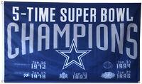 Dallas Cowboys 5 Time Super Bowl Champions flag 3X5FT banner Man cave US Shipper