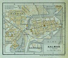 KALMAR, alter farbiger Stadtplan, gedruckt 1914