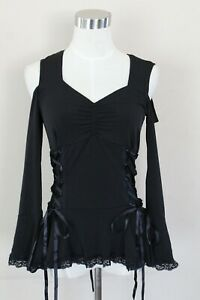 Dare to Wear Open Shoulder Shirt Victorian Gothic Cosplay Style Top Small New