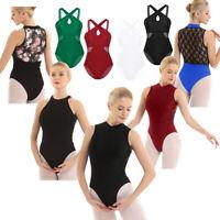 Adult Women Halter Ballet Dance Dress Gymnastic Lace Bodysuit Tracksuit Leotard