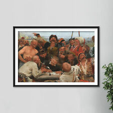 More details for ilya repin - zaporozhian cossacks and sultan of turkey (1890) poster art print