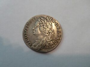 1758 Great Britain Shilling George Silver coin, KM 583.3 VF-EF nice details!