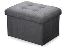 Ottoman Storage Cube-Gray-Foldable-Linen Fabric-NEW