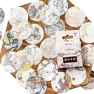 Set of 46 Vintage World Map Journalling Scrapbook Mini Box Circle Stickers