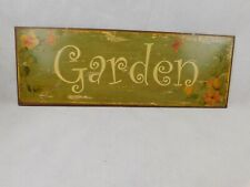 """3 Metal Tin Signs Plaques Home Decor Wall Hangings """"Flowers"""" """"Herbs"""" """"Garden"""""""