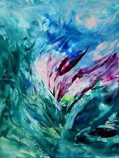 """ABSTRAIT SUR PAPIER, peinture à la cire, original signé HZEN, """"FLEUR"""" 19x25 cm"""