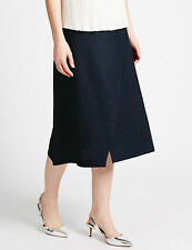 M&S Collection Navy Linen Blend Wrap Style Midi Skirt 12 Eur 40 BNWT