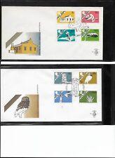 1986  Two Aruba FDC's, #E1&3, First Definitives, Tower Owl  Aloe Snake Divi Tree