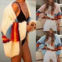 Women Knitted Long Sleeve Cardigan Casual Loose Outwear Sweater Jacket Coat Tops