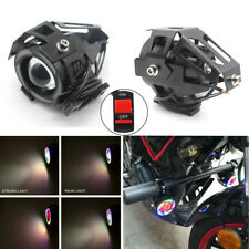 2x Spotlight White LED Motorcycle Fog Lamp DRL Colorful Halo Universal w/ Switch