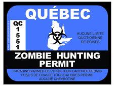 Quebec Zombie Hunting Permit (Bumper Sticker)