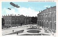 Valparaiso Indiana~University Building~Vintage Glider Plane Above~1913 Postcard