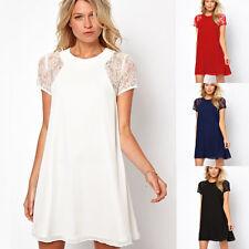 Women Swing Chiffon Lace Long Sleeve One-Piece Shift Dress Short Mini Dresses FT