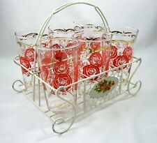 Federal Set of 6 Tumblers & Caddy Bar Vintage 1950s Glasses Pink Gold Roses
