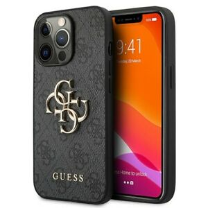 Genuine Guess 4G Big Metal Logo Hard Case Cover For iPhone 13 Pro Max - Black