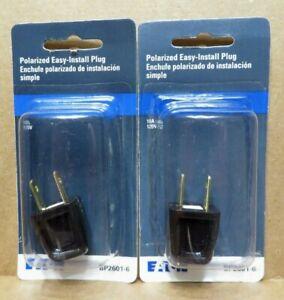 Eaton  Polarized Easy-Install Plug BP2601-6 Black 10A 125V ( 2 Lot) New