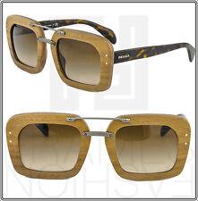 PRADA RAW Baroque Wood Canaletto Sunglasses Walnut Brown Square Women PR 30R