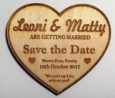 Heart 'Save the Date' magnets - wooden rustic personalised wedding/occasion