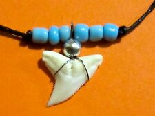 REAL TIGER SHARK TOOTH TEETH PENDANT CHARM NECKLACE BLACK CORD SURFER BOY GIRL
