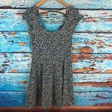 American Eagle Floral Dress Gray Blue Small Cotton Stretch
