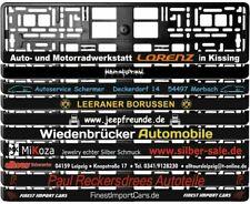 2 Stück Kennzeichenhalter schwarz mit individuellem Wunschtext bedruckt