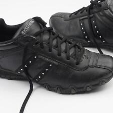SKECHERS Lace Up Athletic Shoes Black Leather Synthetic Upper Womens 6