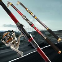 3.6M 12ft Superhard Carbon Fiber Telescopic Spinning Rod Sea Fishing Pole Travel