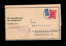 Germany District Court Folded Form Pension Post Horn Göttingen 1953 Cover 4q