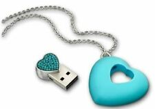 NWT Swarovski Blue Crystal JEWELRY USB 4 GB Blue Zircon Heart Necklace #1116972