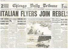 8-1936 August 4 Italian Fliers Join Rebels. Spanish Civil War. Attack on Warship