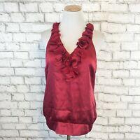 White House Black Market Women's Red Satin Flowered Sleeveless Blouse Size Small