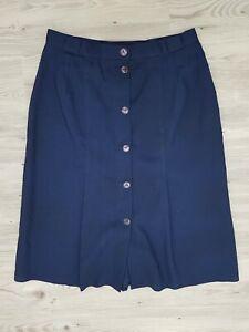 True Vintage St Bernard Navy Skirt Size 12 Button Front pleats classic 1980s