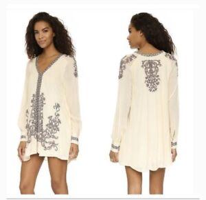 Free People Womens Flowy Boho Bohemian Long Sleeve Mini Dress Embroidery Ivory S