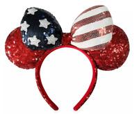 Disney Parks Minnie USA Flag Americana Sequined Red Blue Bow Headband Ears NEW