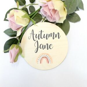 Personalised Wooden Birth Announcement Plaque Sign Rainbow Baby Shower Gift Sign