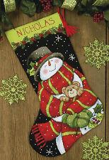 Needlepoint Kit ~ Dimensions Snowman & Bear Christmas Stocking #71-09151