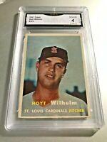 HOYT WILHELM (HOF) 1957 Topps #203 GMA Graded 4 VG-EX