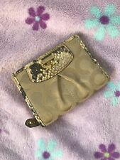 NWT 46649 Madison Op Art Sateen Python Embossed Leather Trim Bifold Wallet