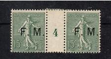 FRANCHISE MILITAIRE N°3 1904 PAIRE + Interpanneau MILLESIME '4' 15c vert SEMEUSE