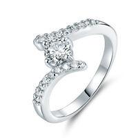 Elegant Slim Paved Diamond Sapphire Silver Gold Filled Lady Women Wedding Rings