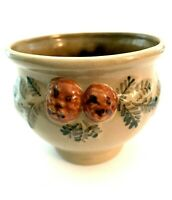 "Beaumont Pottery Handcrafted Bowl 5 1/4"" Diameter Decorated with Acorns and Pine"
