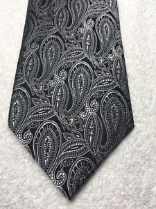 GEOFFREY BEENE MENS TIE BLACK WITH WHITE AND GRAY 3.75 X 60 NWOT