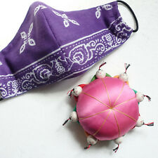 """Vintage Asian Chinese Pin Cushion Sewing 8 Asian People Round Pink 4.5"""" Unused"""