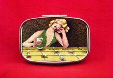 DRUGS PIN UP GIRL MODEL VINTAGE MODERN ART MID CENTURY METAL PILL MINT BOX CASE
